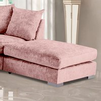 Product photograph showing Boise Chenille Fabric Footstool In Pink