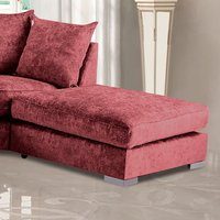 Product photograph showing Boise Chenille Fabric Footstool In Ruby