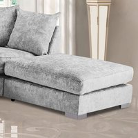 Product photograph showing Boise Chenille Fabric Footstool In Silver