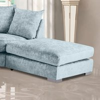 Product photograph showing Boise Chenille Fabric Footstool In Sky