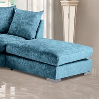 Product photograph showing Boise Chenille Fabric Footstool In Teal