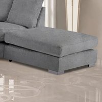 Product photograph showing Boise Malta Plush Velour Fabric Footstool In Grey