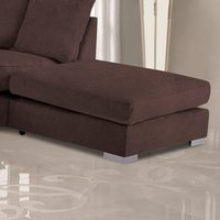 Product photograph showing Boise Malta Plush Velour Fabric Footstool In Mushroom