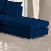 Product photograph showing Boise Malta Plush Velour Fabric Footstool In Navy