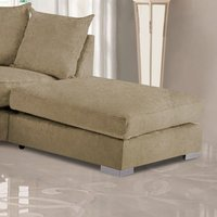 Product photograph showing Boise Malta Plush Velour Fabric Footstool In Parchment
