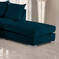 Product photograph showing Boise Malta Plush Velour Fabric Footstool In Peacock