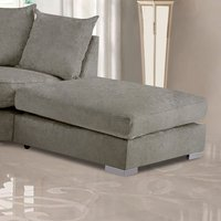 Product photograph showing Boise Malta Plush Velour Fabric Footstool In Putty