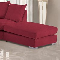 Product photograph showing Boise Malta Plush Velour Fabric Footstool In Red