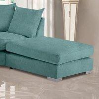 Product photograph showing Boise Malta Plush Velour Fabric Footstool In Seaspray