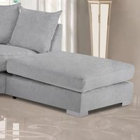 Product photograph showing Boise Malta Plush Velour Fabric Footstool In Silver