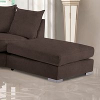 Product photograph showing Boise Malta Plush Velour Fabric Footstool In Taupe