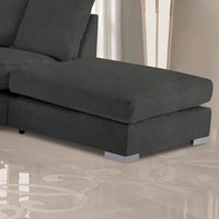 Product photograph showing Boise Plush Velvet Footstool In Charcoal