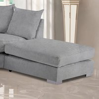 Product photograph showing Boise Plush Velvet Footstool In Silver