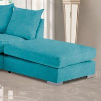 Product photograph showing Boise Plush Velvet Footstool In Teal