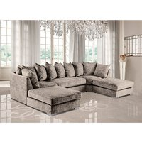 Product photograph showing Boise U-shape Chenille Fabric Corner Sofa In Champagne