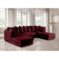 Product photograph showing Boise U-shape Chenille Fabric Corner Sofa In Mulberry