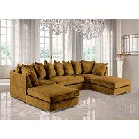 Product photograph showing Boise U-shape Chenille Fabric Corner Sofa In Mustard