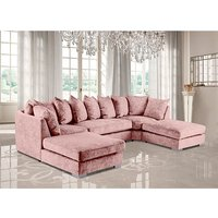 Product photograph showing Boise U-shape Chenille Fabric Corner Sofa In Pink