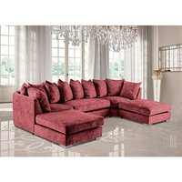 Product photograph showing Boise U-shape Chenille Fabric Corner Sofa In Ruby