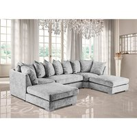 Product photograph showing Boise U-shape Chenille Fabric Corner Sofa In Silver