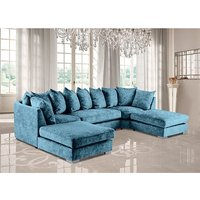 Product photograph showing Boise U-shape Chenille Fabric Corner Sofa In Teal