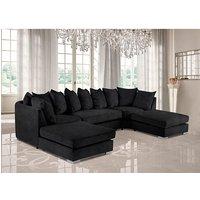 Product photograph showing Boise U-shape Plush Velour Fabric Corner Sofa In Cosmic
