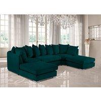 Product photograph showing Boise U-shape Plush Velour Fabric Corner Sofa In Emerald