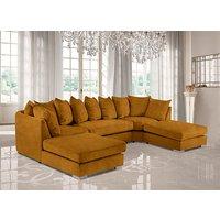Product photograph showing Boise U-shape Plush Velour Fabric Corner Sofa In Gold