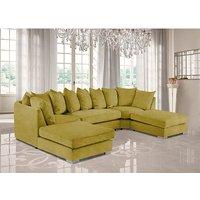 Product photograph showing Boise U-shape Plush Velour Fabric Corner Sofa In Grass