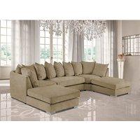 Product photograph showing Boise U-shape Plush Velour Fabric Corner Sofa In Parchment