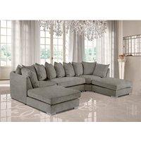 Product photograph showing Boise U-shape Plush Velour Fabric Corner Sofa In Putty