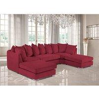Product photograph showing Boise U-shape Plush Velour Fabric Corner Sofa In Red