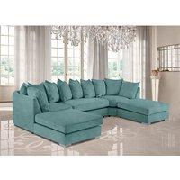Product photograph showing Boise U-shape Plush Velour Fabric Corner Sofa In Seaspray