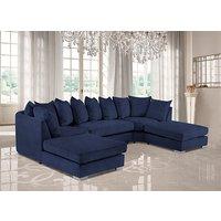 Product photograph showing Boise U-shape Plush Velour Fabric Corner Sofa In Slate