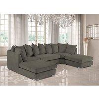 Product photograph showing Boise U-shape Plush Velvet Corner Sofa In Biscuit