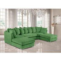 Product photograph showing Boise U-shape Plush Velvet Corner Sofa In Olive