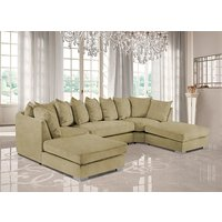 Product photograph showing Boise U-shape Plush Velvet Corner Sofa In Saffron