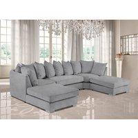 Product photograph showing Boise U-shape Plush Velvet Corner Sofa In Silver
