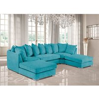 Product photograph showing Boise U-shape Plush Velvet Corner Sofa In Teal