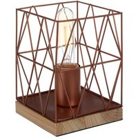 Product photograph showing Boke Copper Wire Frame Table Lamp With Natural Wooden Base