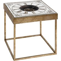 Product photograph showing Bolek Mirrored Square Framed Clock Side Table In Gold