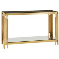 Product photograph showing Bleadon Glass Console Table With Gold Finish Linear Design Frame