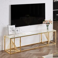 Product photograph showing Bolzano Clear Glass Tv Stand With Gold Stainless Steel Legs