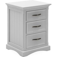 Boody Wooden Bedside Cabinet In White With Three Drawers