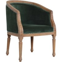 Product photograph showing Borah Velvet Accent Chair In Emerald Green And Natural
