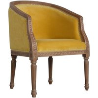 Product photograph showing Borah Velvet Accent Chair In Mustard And Natural