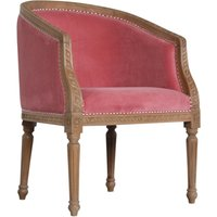 Product photograph showing Borah Velvet Accent Chair In Pink And Natural