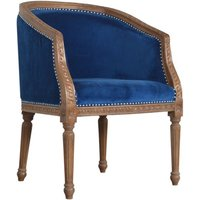 Product photograph showing Borah Velvet Accent Chair In Royal Blue And Natural
