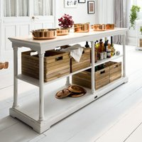 Product photograph showing Boraux Wooden Kitchen Table In White With 4 Boxes
