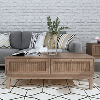 Product photograph showing Bordeaux Wooden Coffee Table In Oak With 2 Drawers